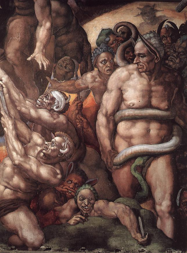 Biagio da Cesena painted as Minos with donkey ears and a snake biting his genitals. Detail from Sistine Chapel, the Last Judgment by Michelangelo
