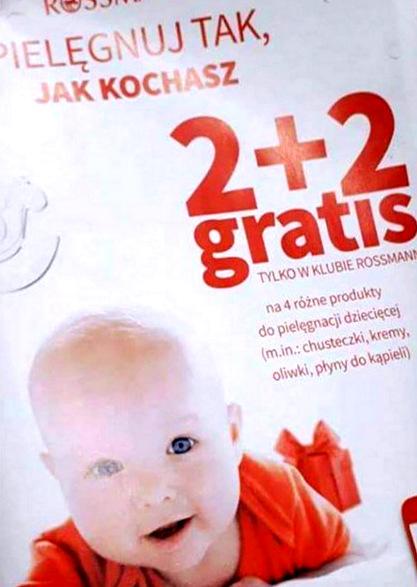 zdjęcie informujące o promocji w rossmannie na produkty dla dzieci grudzień 2017