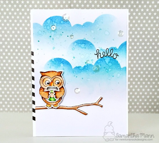 hello owl card by Samantha Mann | Sending Hugs Stamp Set by Newton's Nook Designs #newtonsnook #handmade