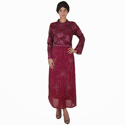 Model Baju Muslim Batik Kombinasi Brokat Terbaru