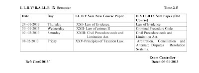 DateSheet LLB II, III  and V Semesters | HNB Garwal university