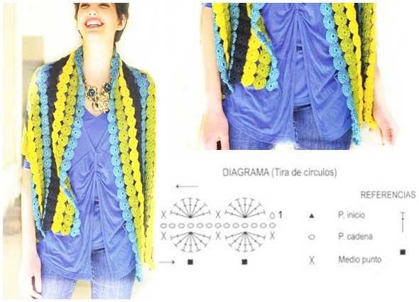 Estola tejida con cadenetas de círculos con patrón
