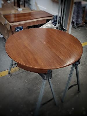 Refinished hardwood dining table