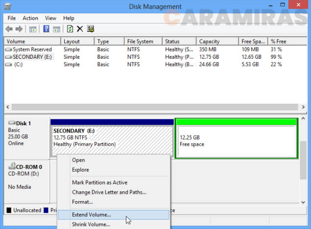 Menghapus Sistem Operasi Dual Boot di Windows - extend volume
