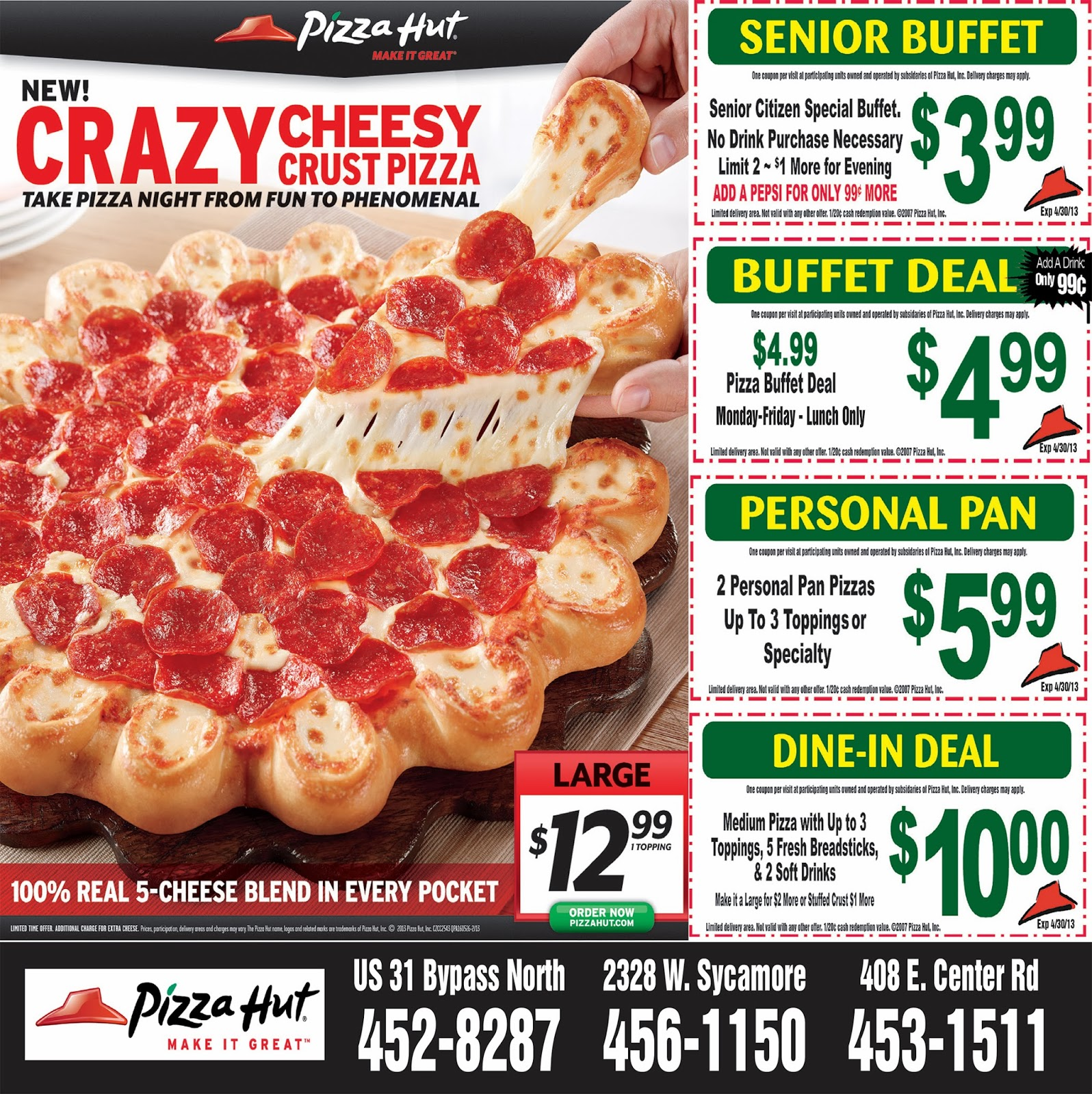 Pizza Hut – home of America's favorite pizza, delivering delicious hot pizza and WingStreet buffalo wings straight to your door. Check out the best Pizza Hut coupons for 20% off your first order, up to 50% off pizza deals, and more specials.
