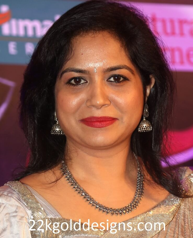Singer Sunitha in Black Metal Jewellery