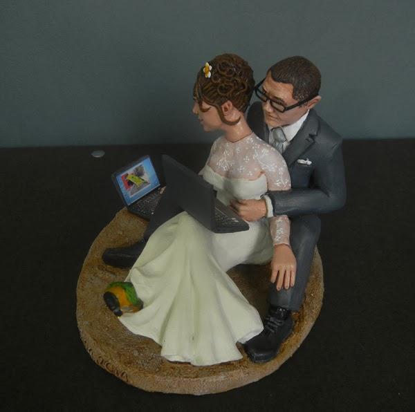 statuine sposi cake topper con animali domestici personalizzati orme magiche