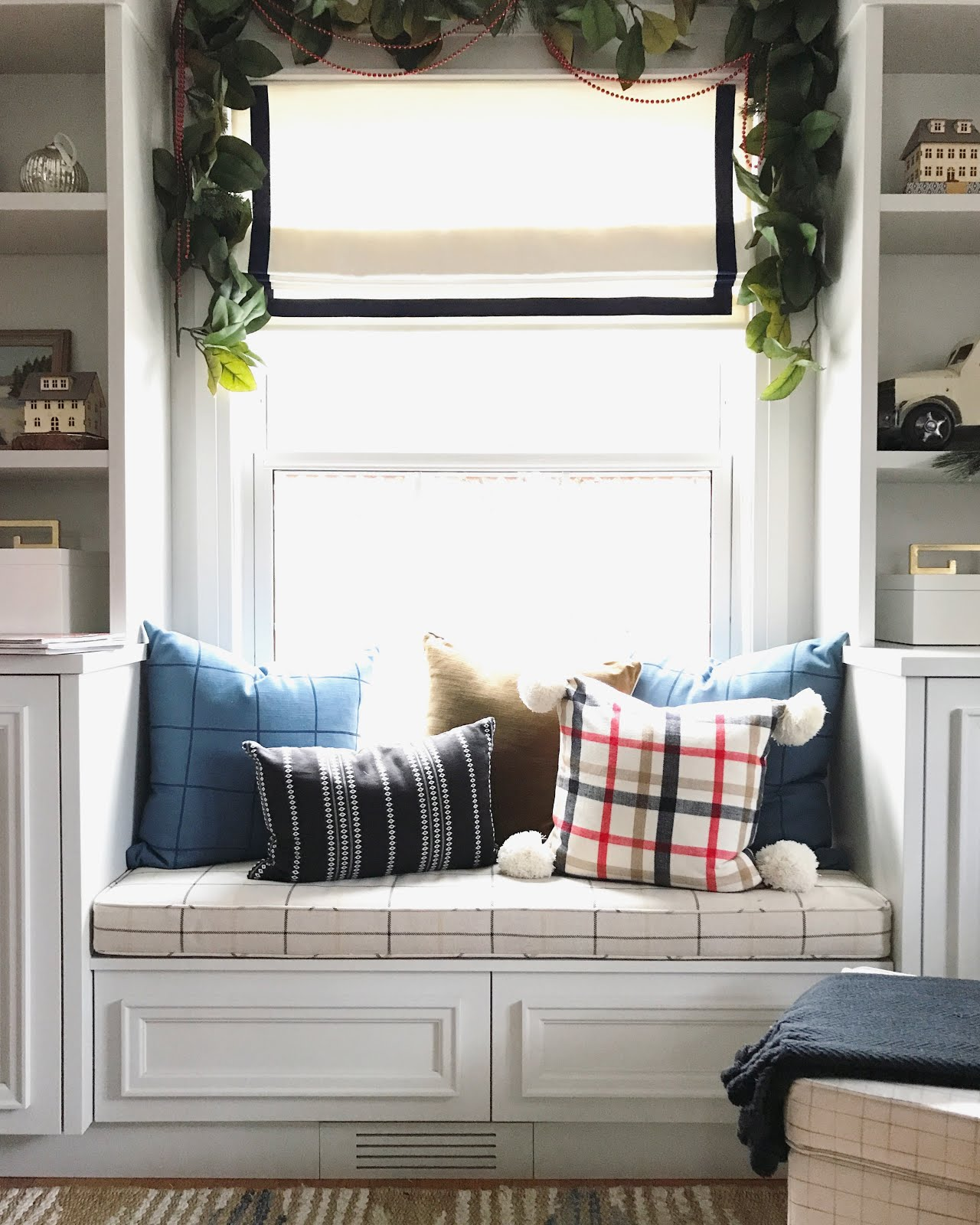 window seat with pillows, plaid cushions, plaid window bench cushion