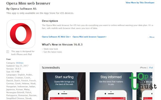 Trình duyệt web Opera Mini for iOS
