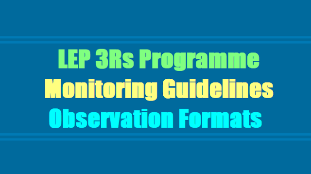 LEP 3Rs Programme,Monitoring Guidelines,Observation Formats