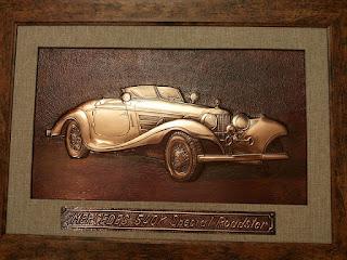 metaloplastie pe tabla de cupru, masina mercedes, masini, tablouri, arta manuala, mercedes 540K,