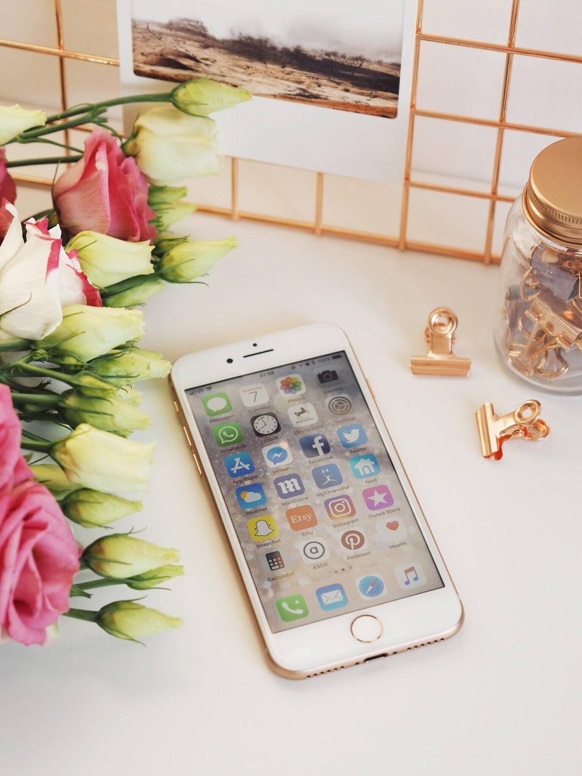 iPhone 8 Rose Gold, Flowers and Copper Photo Grid