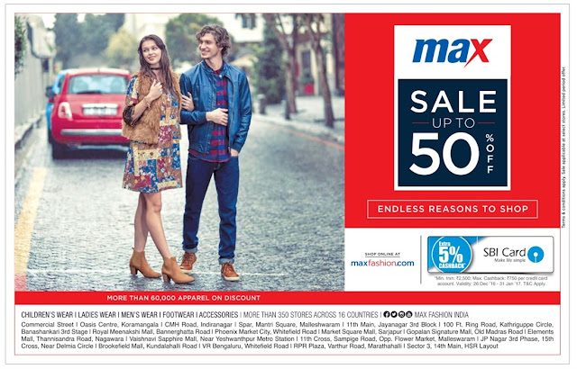 Max - Sale Up to 50% off | December 2016 year end sale | Christmas festival discount offers