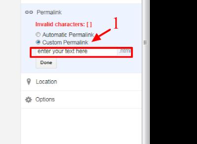 blogger, custom permalink, setting