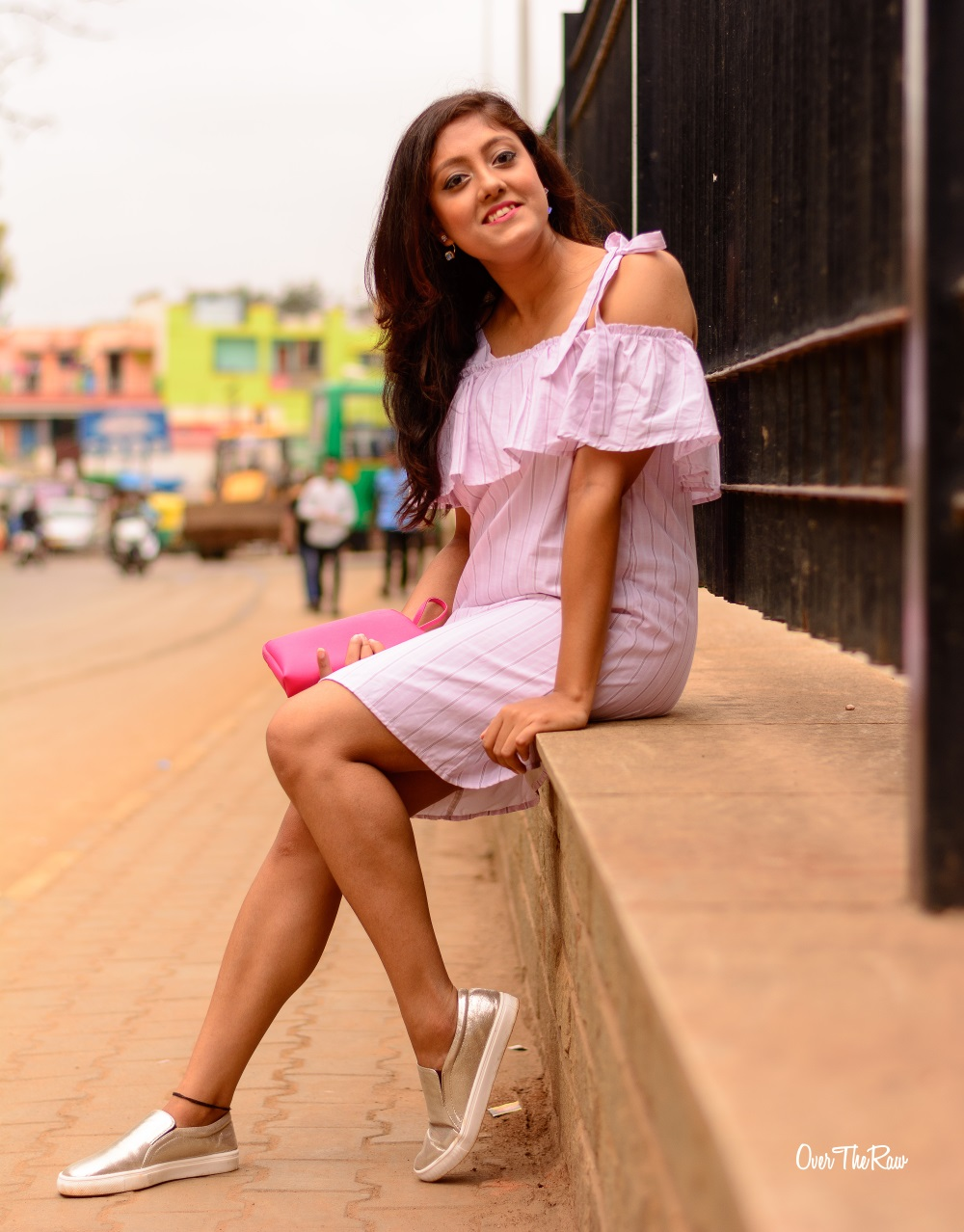 Bangalore Fashion Blogger , Pink, Ruffles, Stripes, One shoulder dress