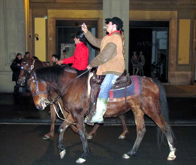 Horse rider in not-so-Garibaldine attire, Livorno