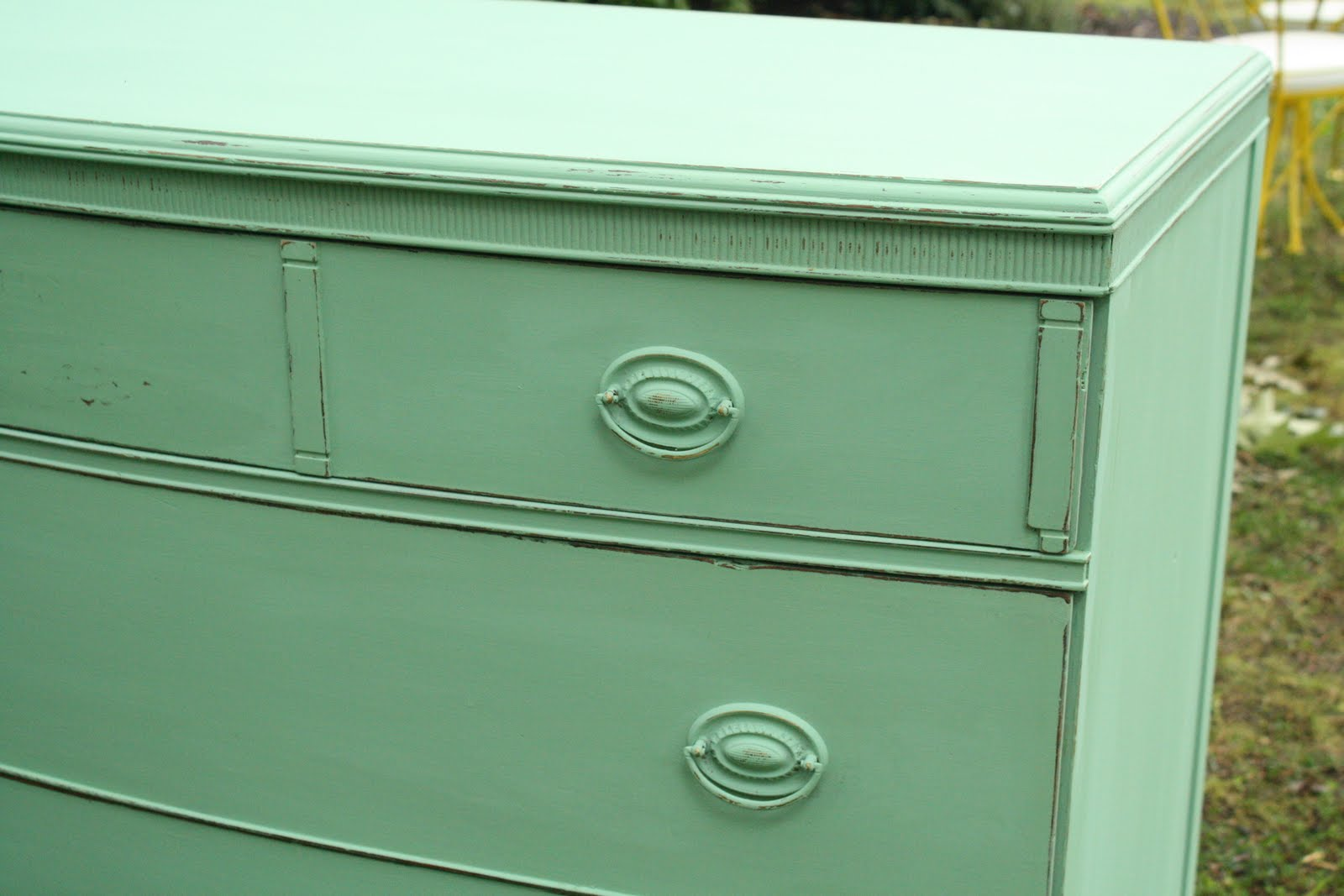 Piece of work wednesday furniture link party number 46 for Mint green furniture paint