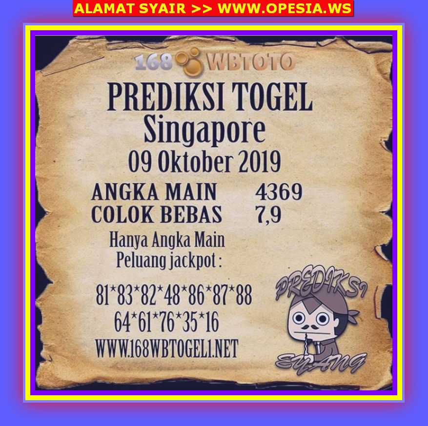 Kode syair Singapore Rabu 9 Oktober 2019 76