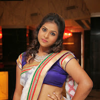 Voluptuous sexy Hemalatha hot photos in white saree at birthday party