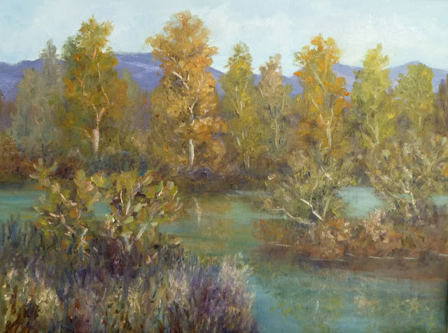 Painting of Cottonwood Trees and River