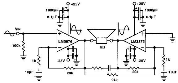 lm1875 20 watt audio power amplifier simple circuit diagram