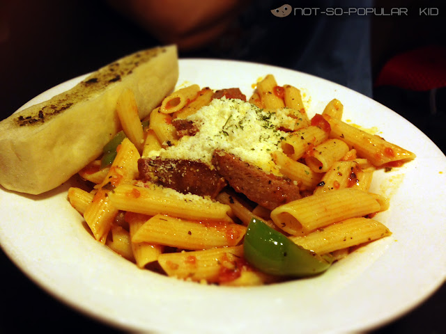 Penne with Sausage and Peppers in Flaming Wings