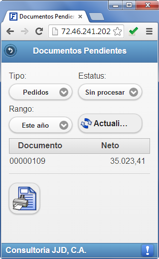 Customer Express: Consulta de Documentos Pendientes - Productos Web de eFactory para Móviles y Tabletas