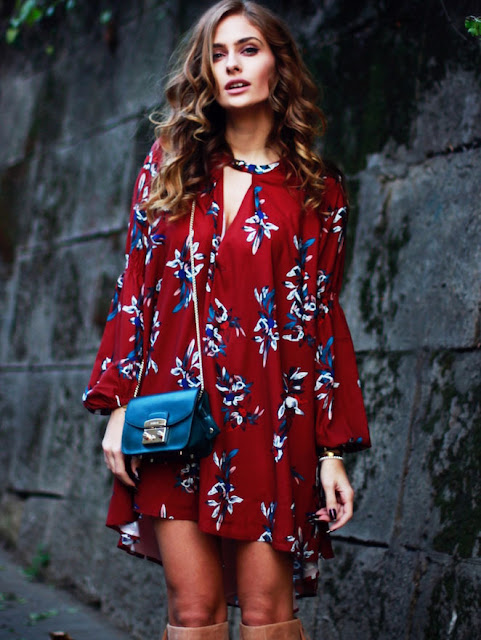 Wine Red Long Sleeve Floral Dress