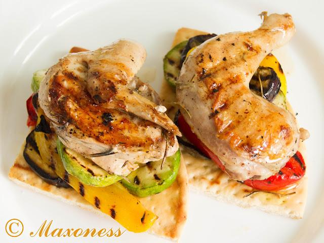 Цыплёнок и овощи гриль с фокаччей от Гордона Рамзи
