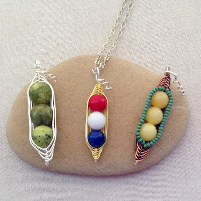Free herringbone wire wrap pea pod tutorial
