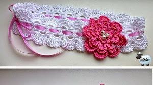Patrón crochet de vincha con flor
