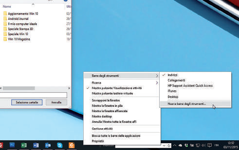 barra degli strumenti windows 10