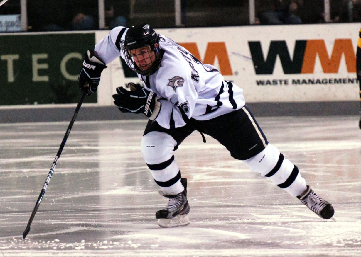 (above) Senior Brent Kostolansky ( 15) grew up playing hockey in Denver and  then attended Shattuck St. Mary s  MN  before attending the University of  New ... fa3092fad