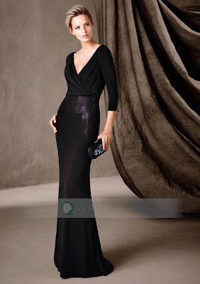 3/4 Sleeve Deep V-neck Black Evening Dress with Beaded Embroidery