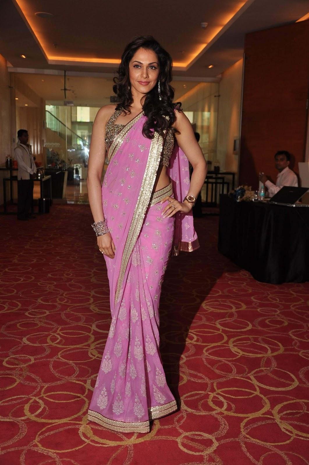 Isha koppikar in a pink saree
