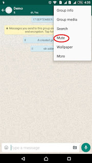 whatsapp mute a specific group