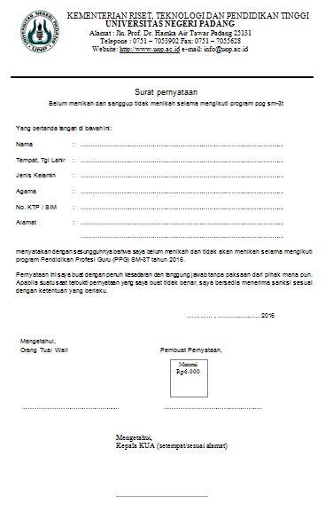 Contoh Format Surat Pernyataan Belum Menikah Pustaka Pandani