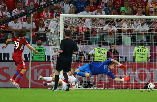 Czech Republic midfielder Petr Jiráček scores the winning goal against Poland