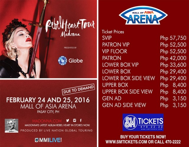 "Madonna's ""Rebel Heart"" one of the most expensive concerts in PH"