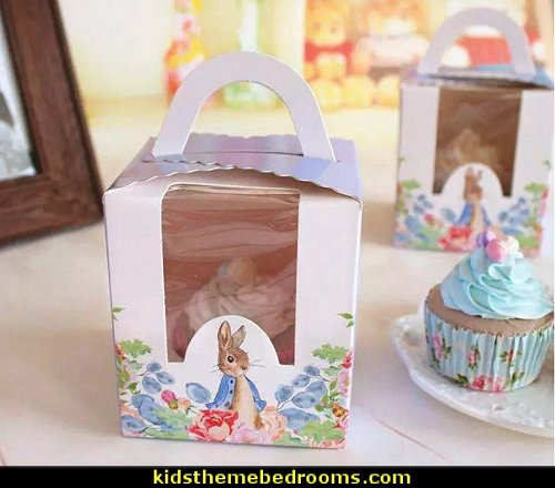 Peter Rabbit Printed Cupcake Box with Handle Birthday Party Cup Cake Boxes  Peter Rabbit party supplies - Peter Rabbit Party Ideas - Peter Rabbit Party Theme  decorations - Peter Rabbit birthday party decorations - Peter Rabbit spring garden party decorating - garden party - Carrots Chocolate Candy molds  -  Carrot cake cookie molds - flower decorations - bunny party sweets - bunny party supplies