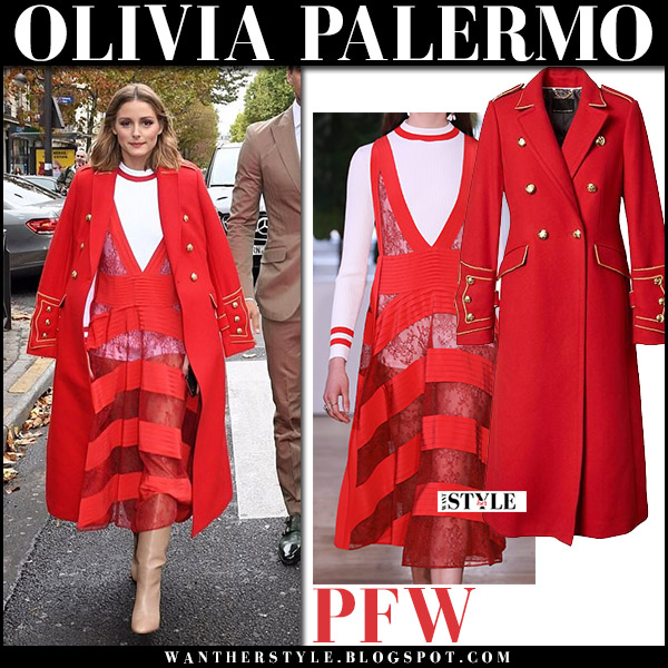 Olivia Palermo in red military banana republic coat, red sheer striped valentino dress and beige boots at Paris Fashion Week style october 1 2017