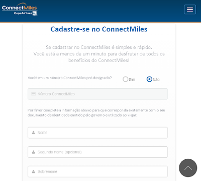 ConnectMiles: 4000 milhas grátis na Copa Airlines - passo 2