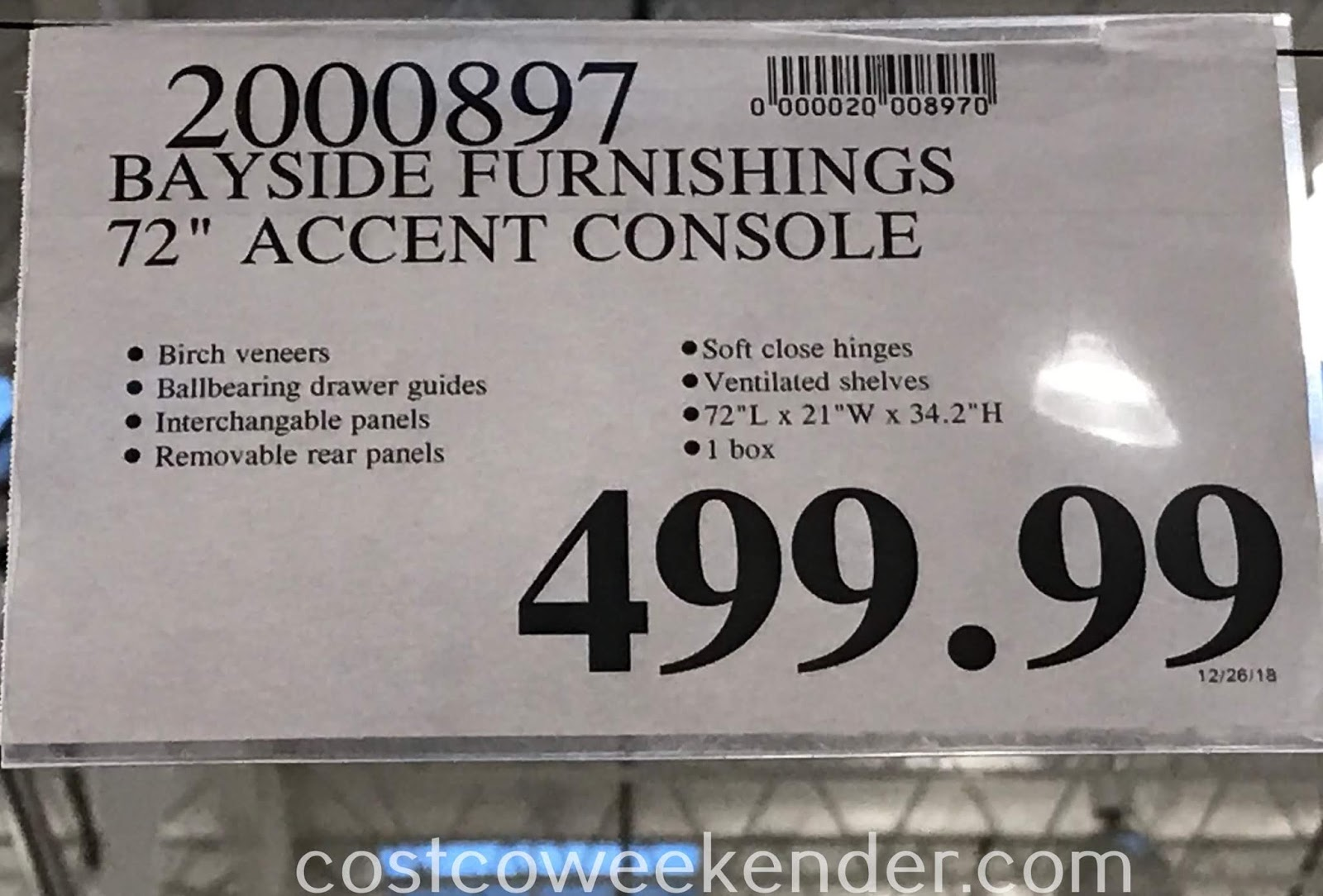 Deal for the Bayside Furnishings Accent Console at Costco