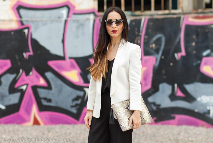 Sandalias Con Y Culottes Blazer Outfit Blanco Negro Pantalones En qx8IR 42ced6e84a6