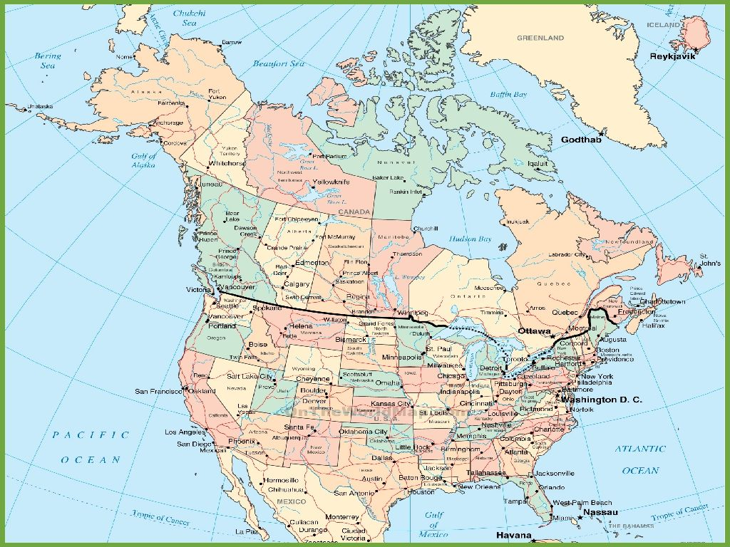 map of united states and canada with cities