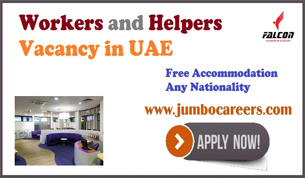 Latest UAE jobs with accommodation, Workers and helpers jobs in Gulf countries,