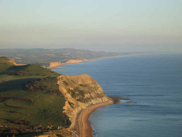 Cliffs and sea. Looking East from the top of Golden Cap, Dorset.