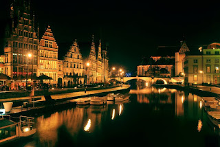 Ghent at night Gent Belgium Gothic City Canals