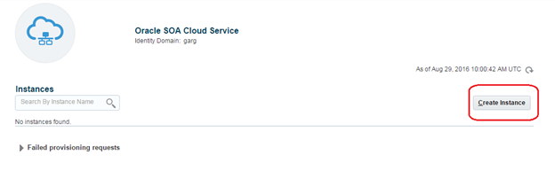 Oracle SOA Cloud Create Instance