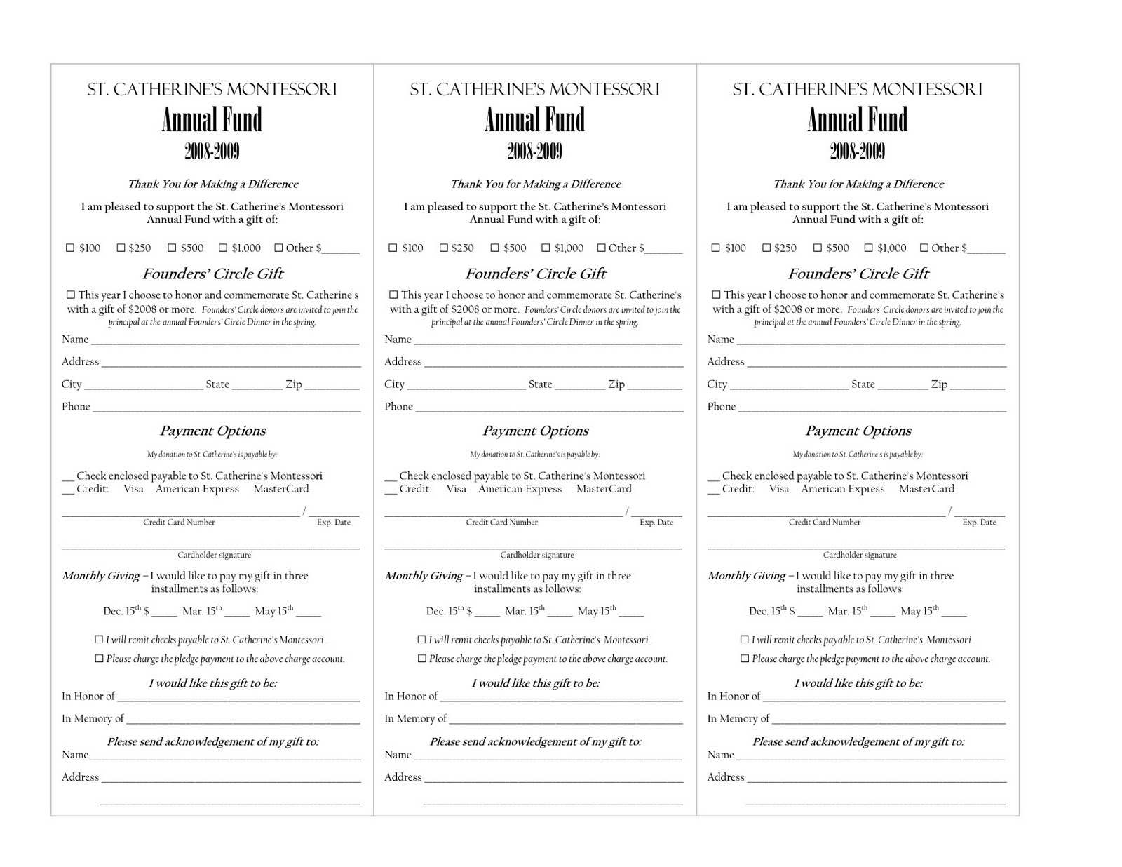 fundraising pledge card template